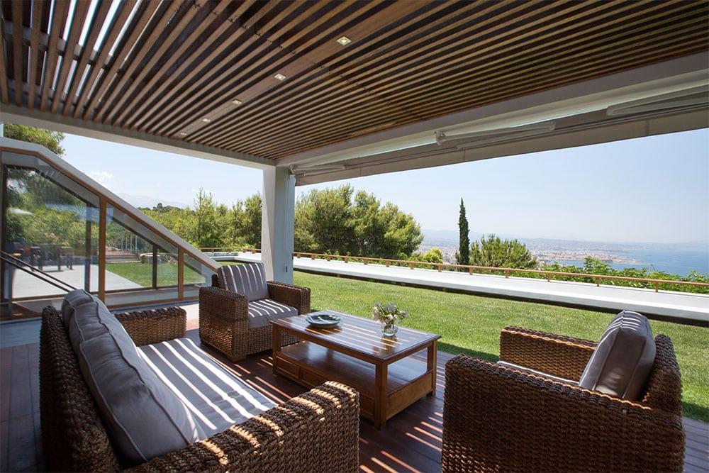 One of the outdoor shaded areas at Villa Terra Creta
