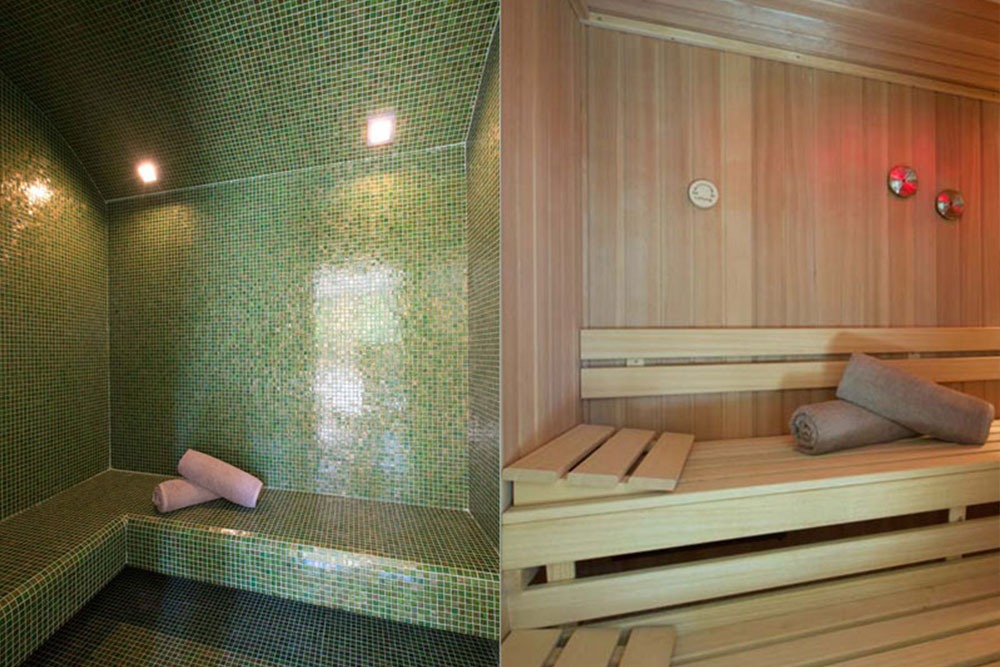 Left: Turkish steam bath with aroma therapy / Right: Scandinavian sauna for4-6 people with color therapy