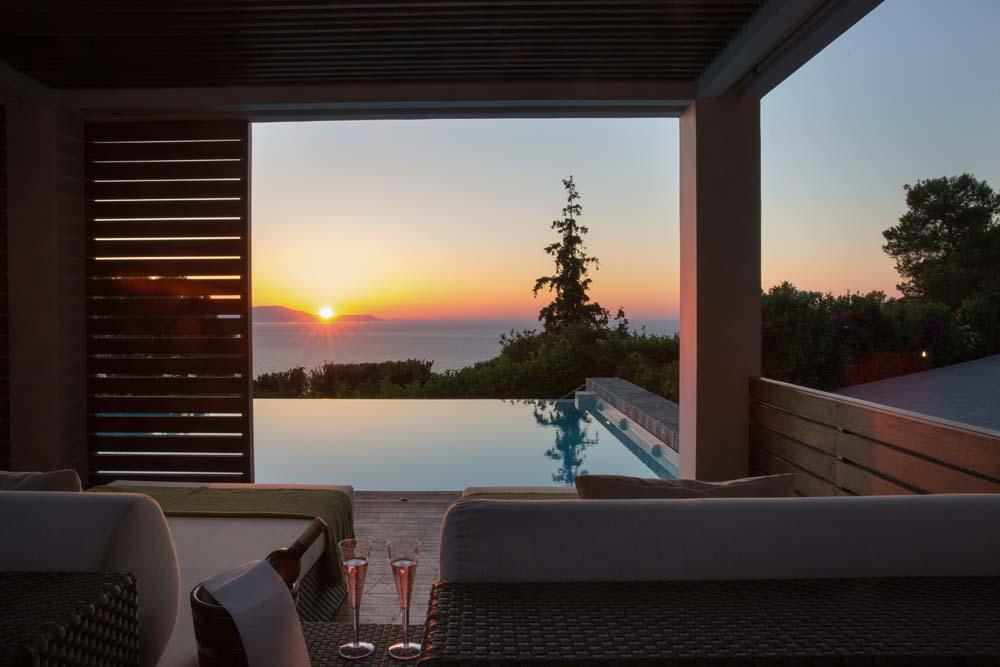 Enjoying sunset by the pool at Villa Terra Creta