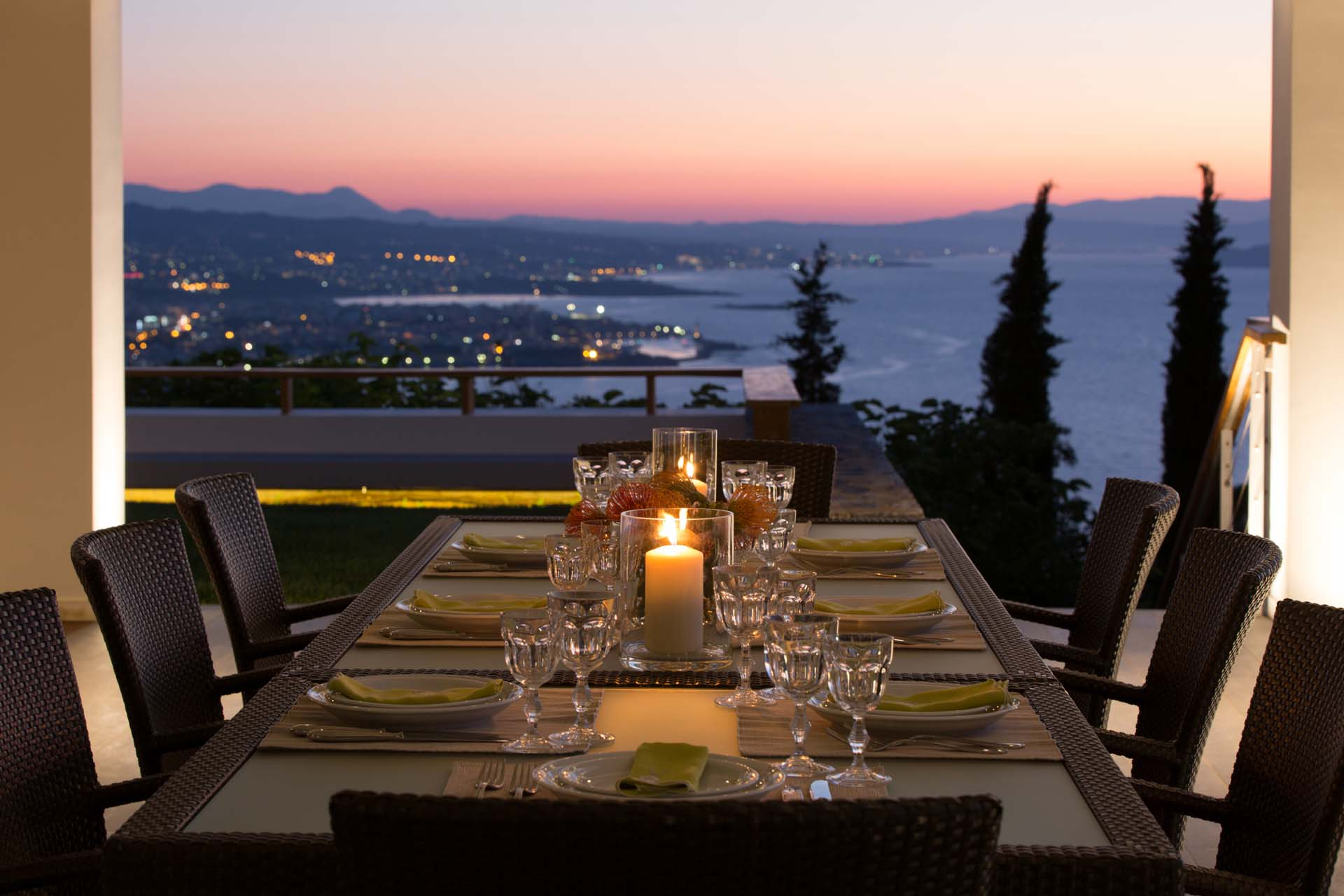 Dining outdoors with stunning view of the city lights. Quite an experience